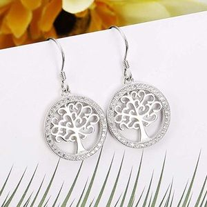 NWT Sterling Silver CZ Tree Of Life Earrings